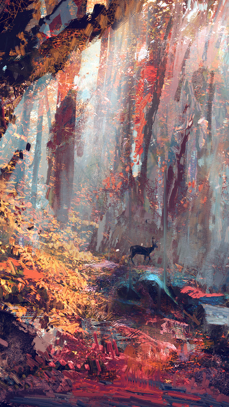iPhone6papers.co-Apple-iPhone-6-iphone6-plus-wallpaper-ax53-rain-deer-forest-illustration-art-wadim-kashin-blue