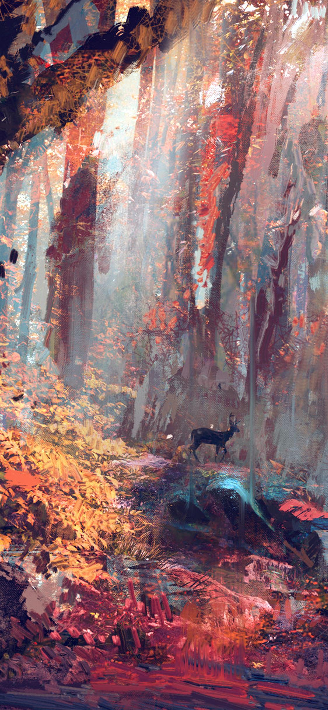 iPhoneXpapers.com-Apple-iPhone-wallpaper-ax53-rain-deer-forest-illustration-art-wadim-kashin-blue