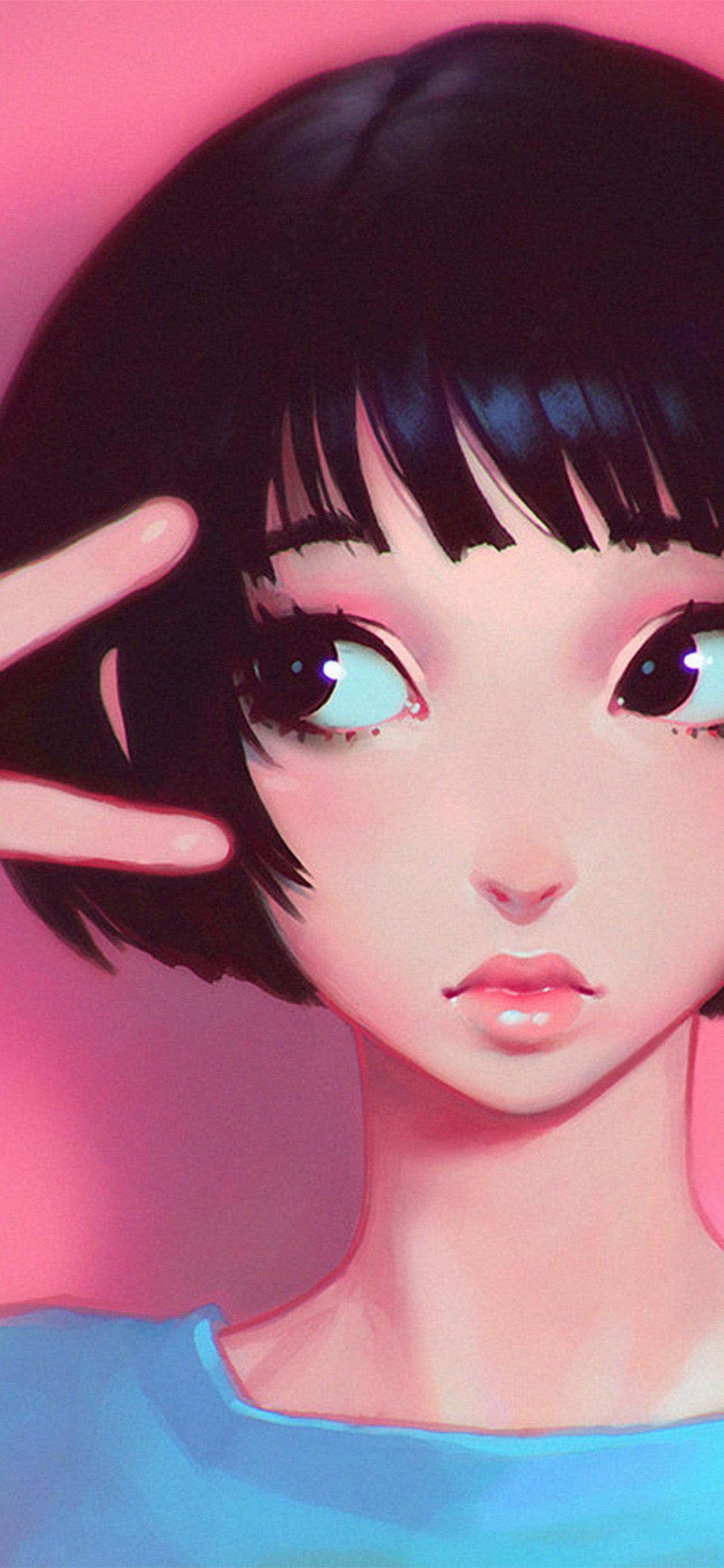 iPhoneXpapers.com-Apple-iPhone-wallpaper-ay03-ilya-kuvshinov-pink-girl-illustration-art