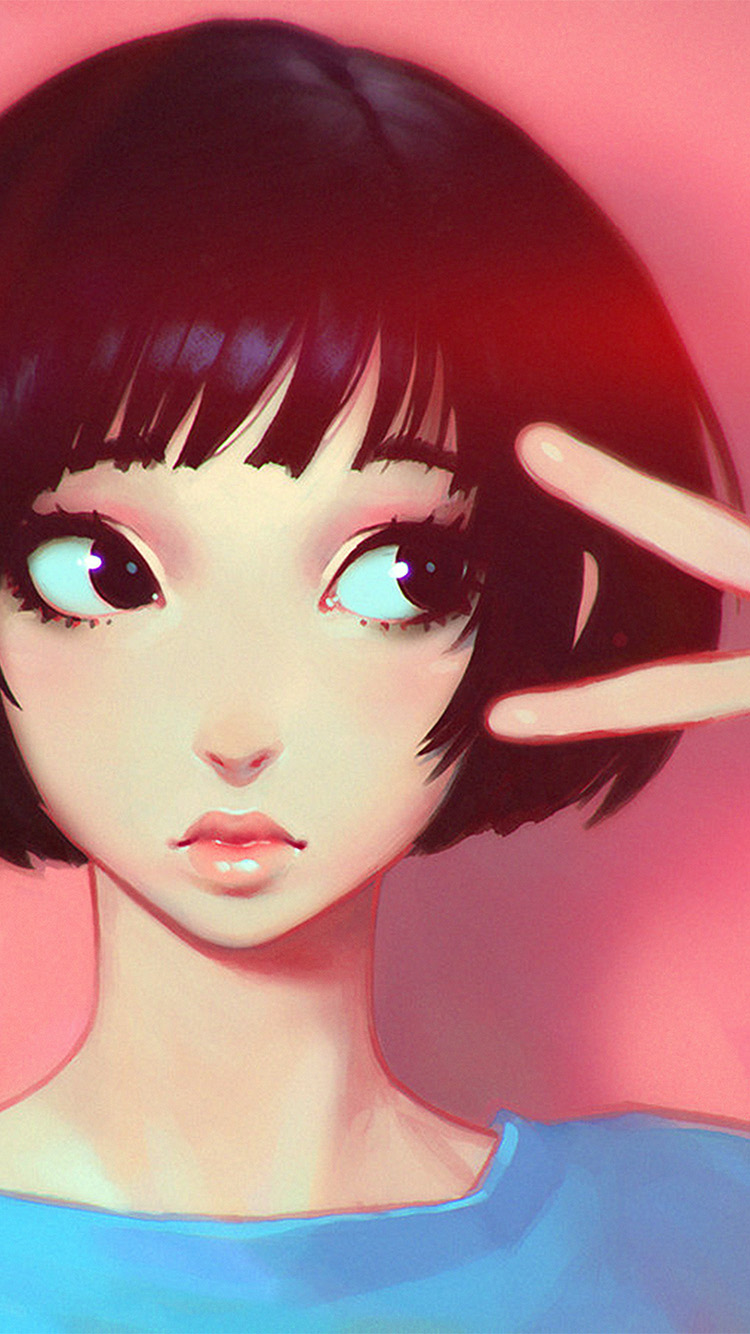 Papers.co-iPhone5-iphone6-plus-wallpaper-ay04-ilya-kuvshinov-pink-girl-illustration-art-pink-flare