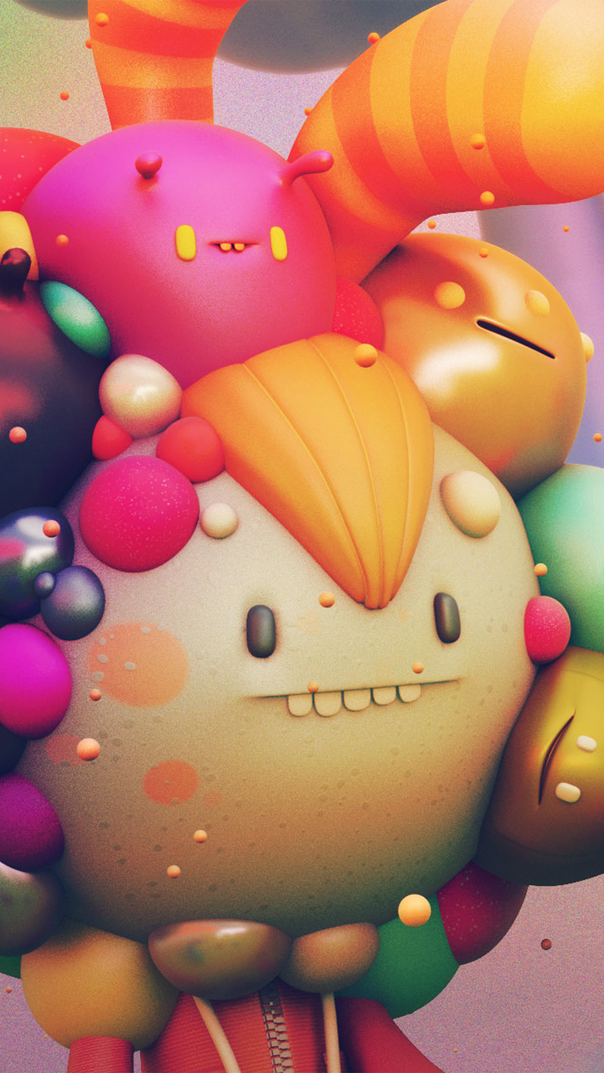 papers.co ay16 cute monster character 3d illustration art 34 iphone6 plus wallpaper