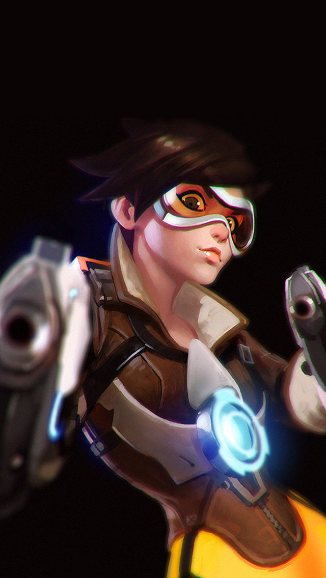 freeios8.com-iphone-4-5-6-plus-ipad-ios8-ay35-ilya-kuvshinov-overwatch-tracer-hero-game-illustration-art