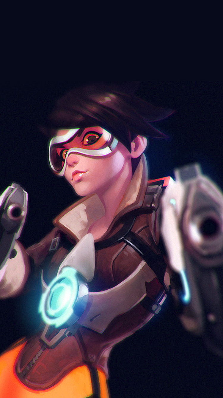 iPhonepapers.com-Apple-iPhone-wallpaper-ay36-ilya-kuvshinov-overwatch-tracer-hero-game-illustration-art-blue