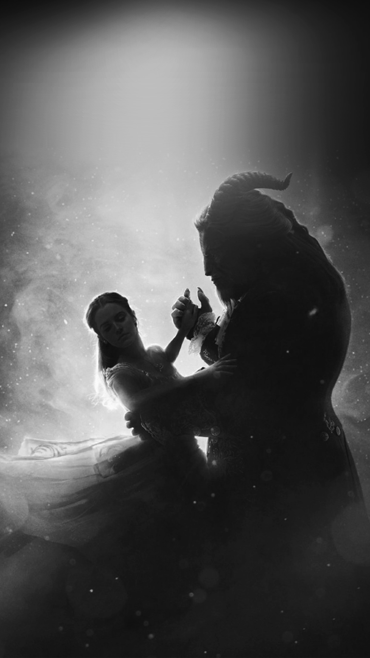 Ay50 Disney Beauty Beast Illustration Art Bw Dark Wallpaper