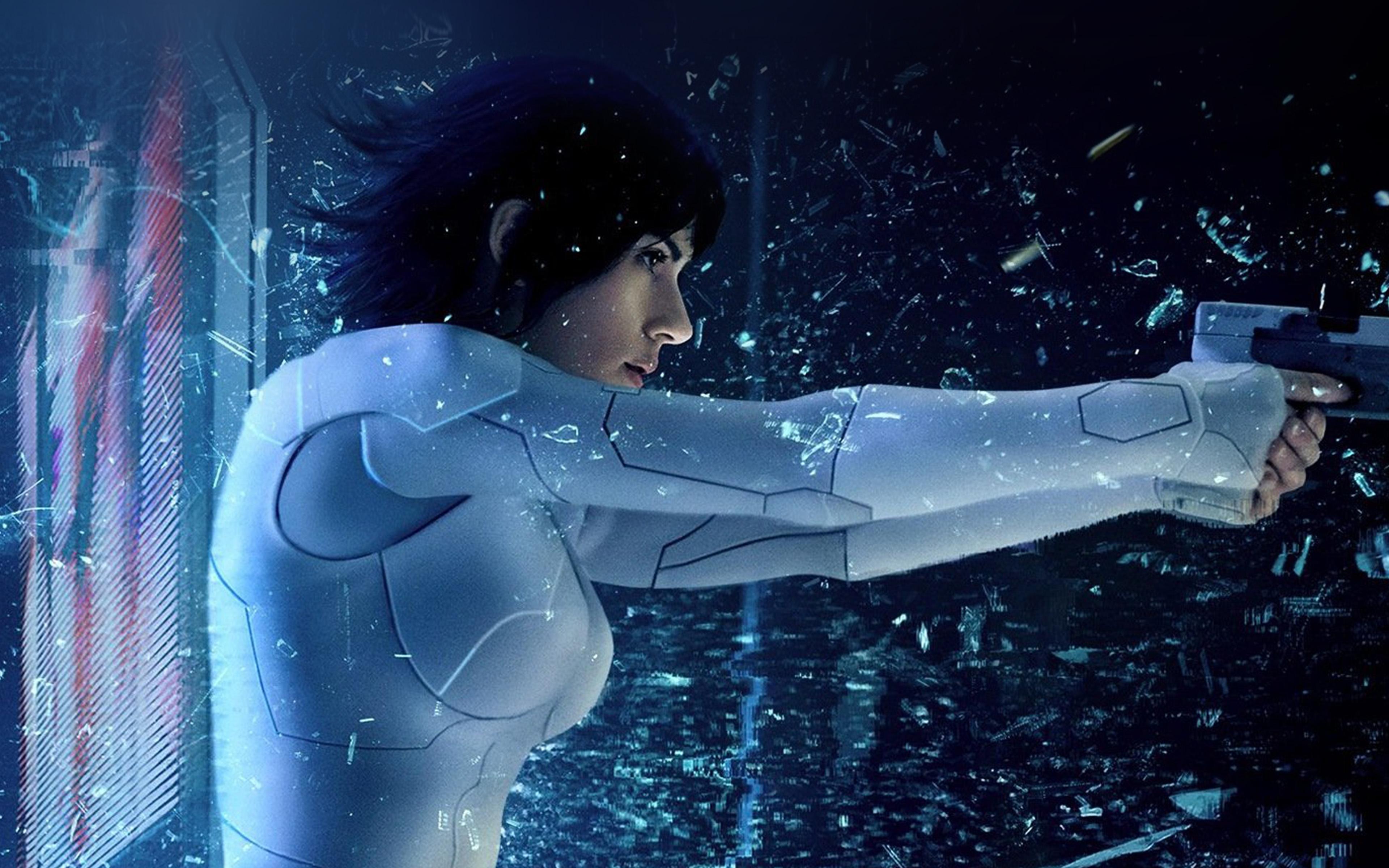 Ay52 Ghost In Shell Blue Film Hero Illustration Art