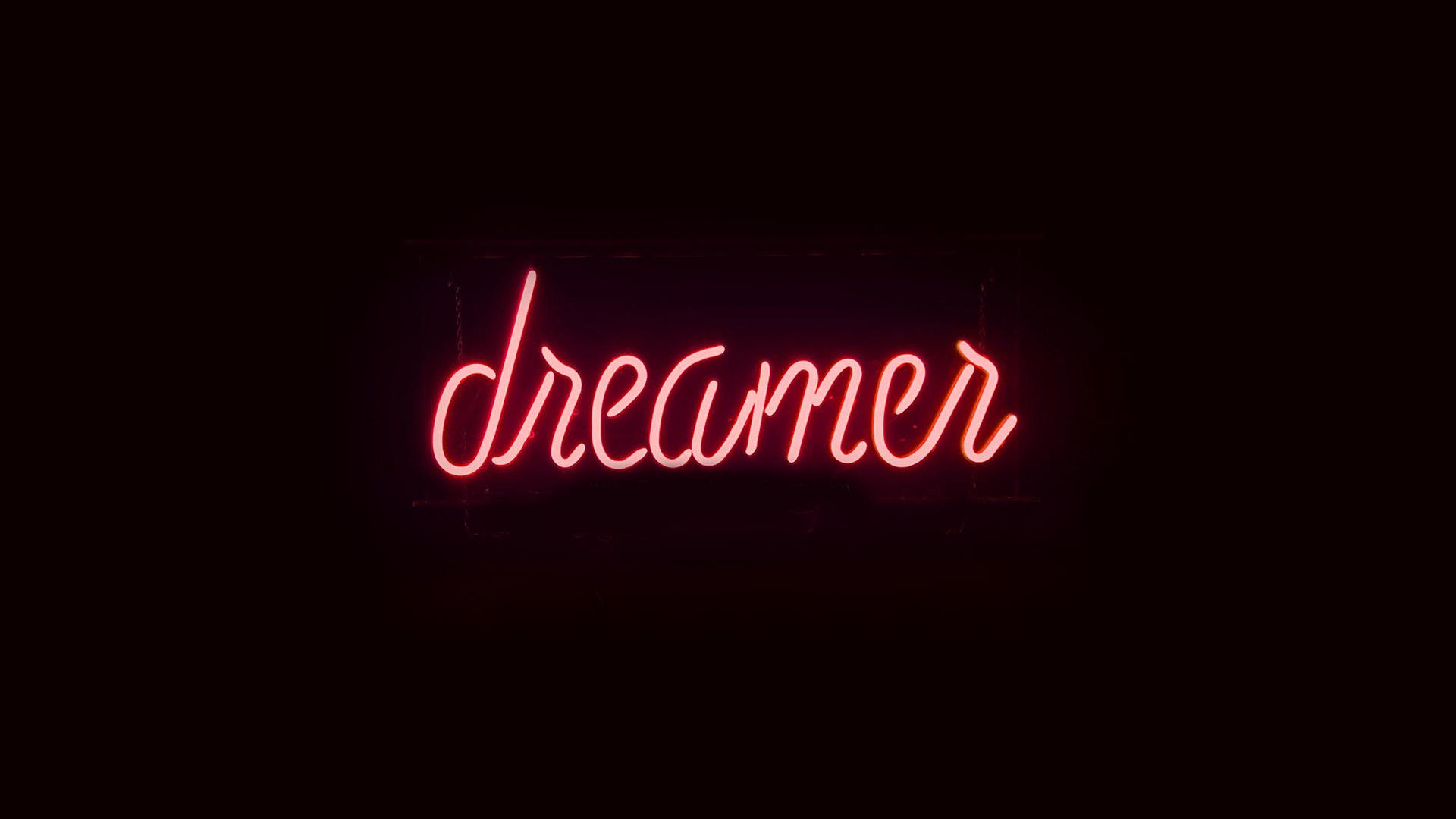 Ay56 Dreamers Neon Sign Dark Illustration Art Red Wallpaper