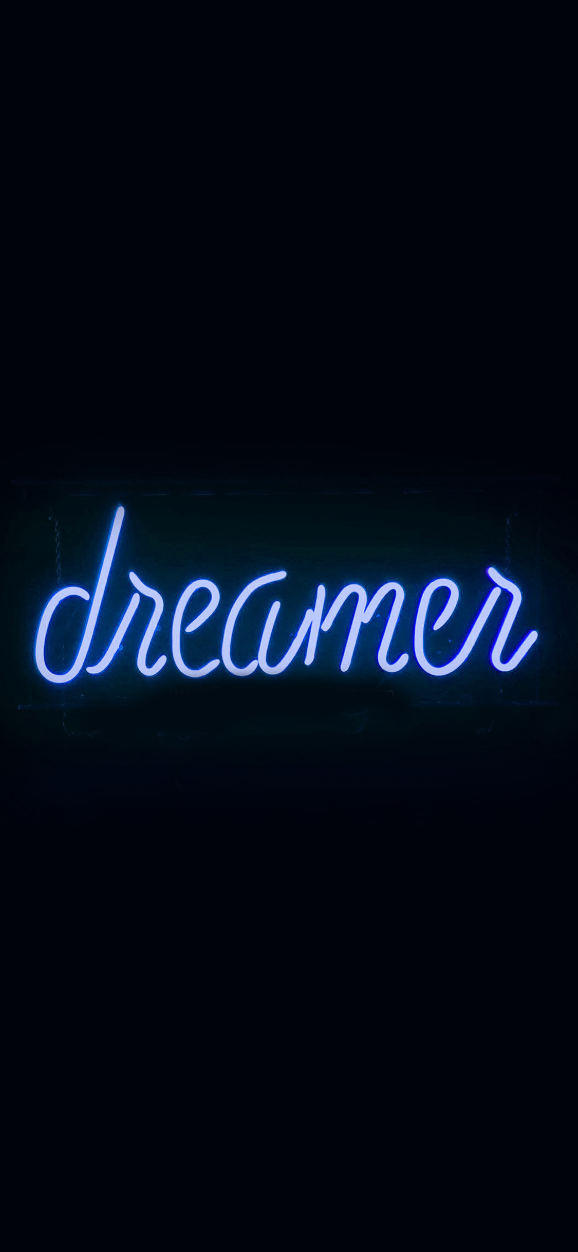 papers.co ay57 dreamers neon sign dark illustration art blue 41 iphone wallpaper