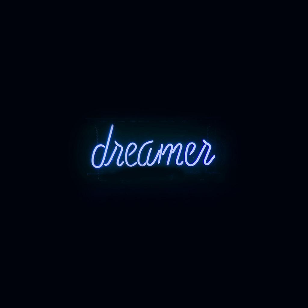 Ay57 Dreamers Neon Sign Dark Illustration Art Blue Wallpaper