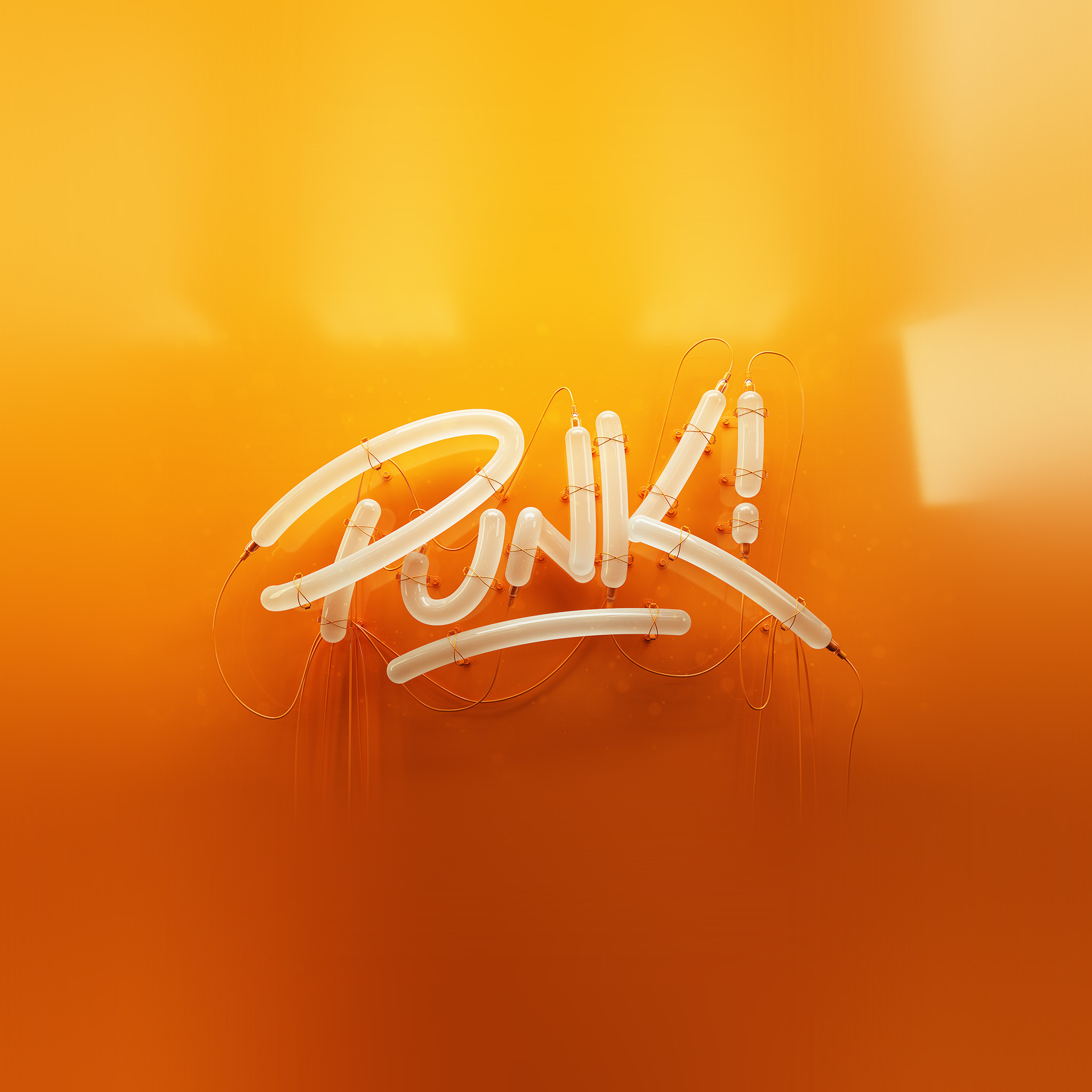 Ay76 punk neon sign art minimal illustration art orange for Minimal art neon