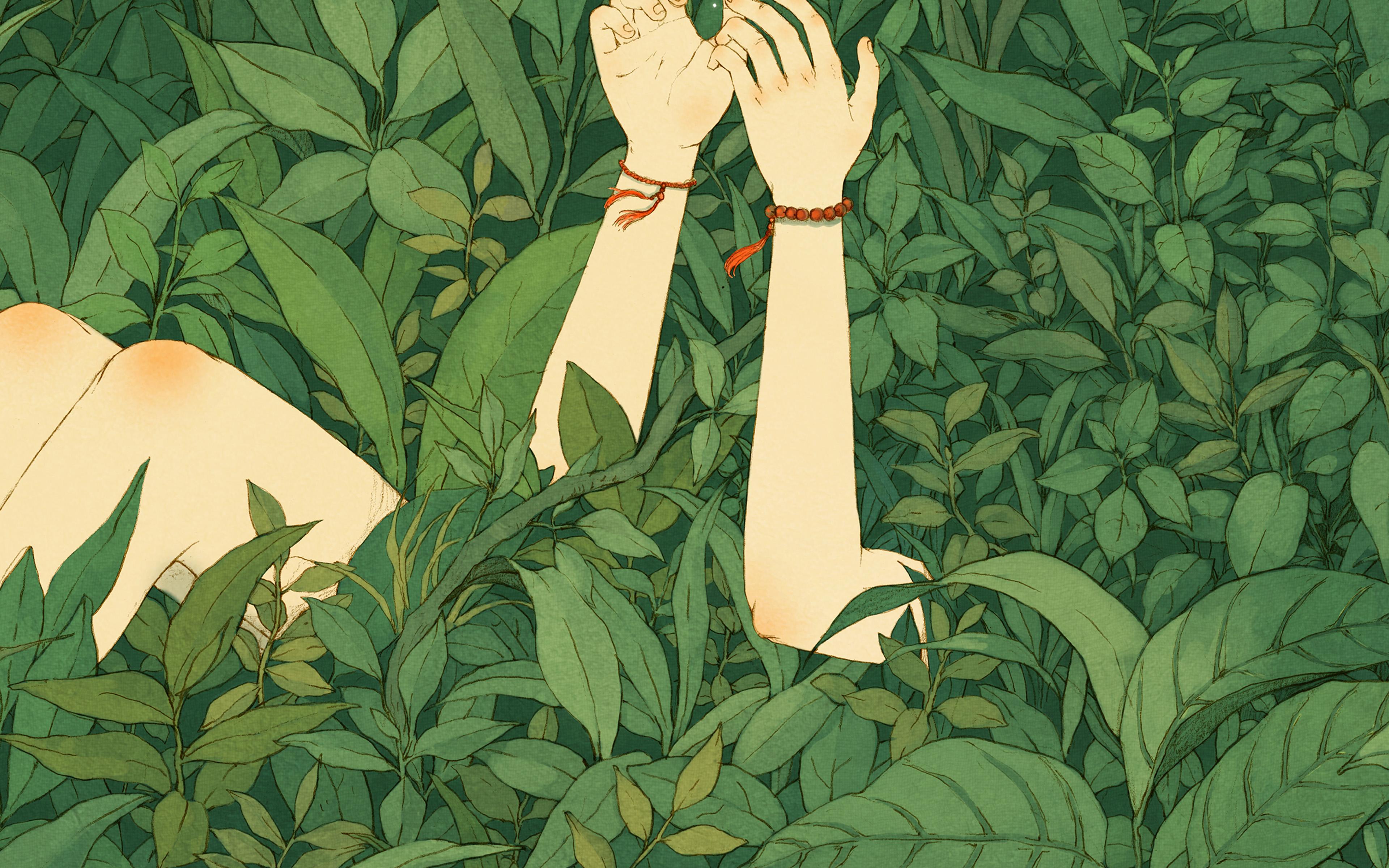 Ay83 Green Wood Forest Love Butterfly Illustration Art Wallpaper