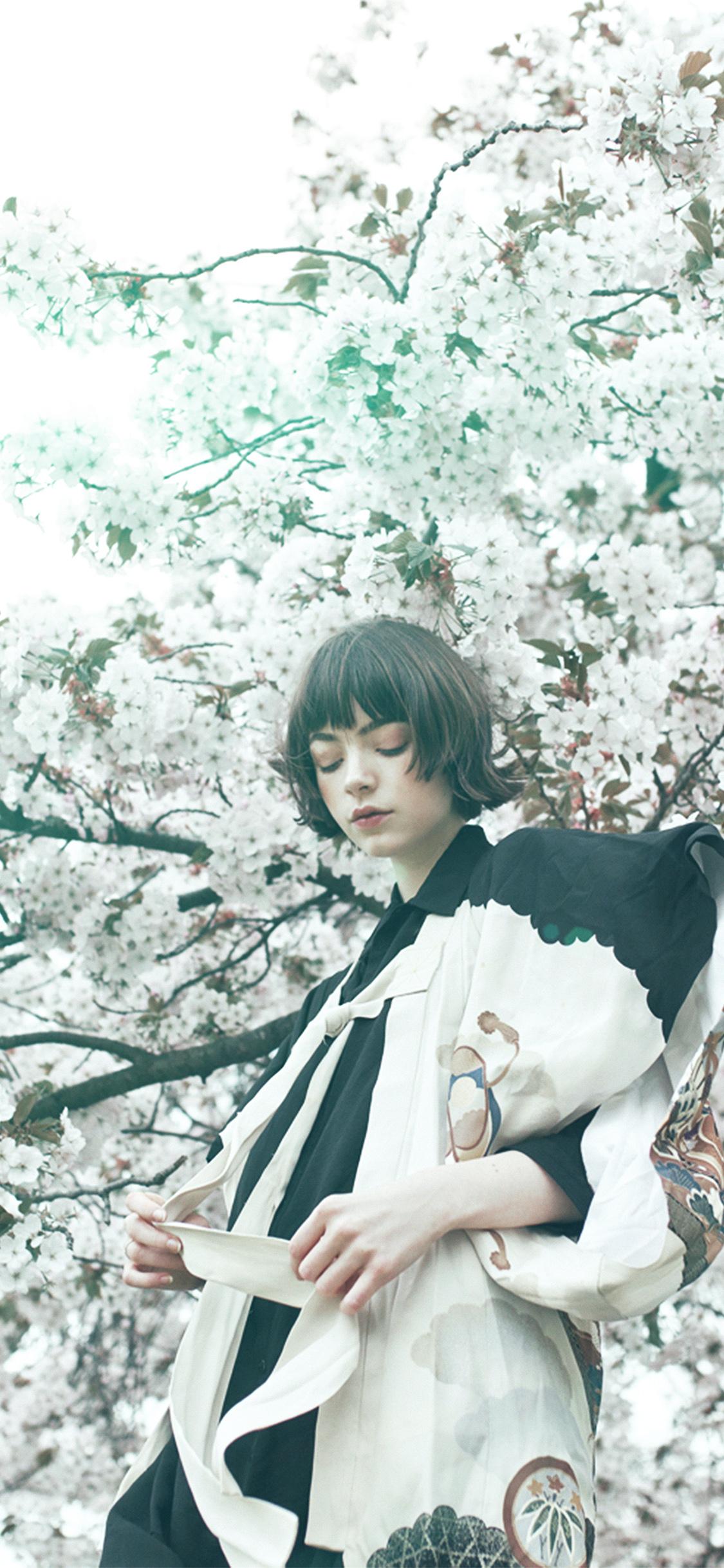 iPhonexpapers.com-Apple-iPhone-wallpaper-ay90-spring-blossom-girl-illustration-art-green