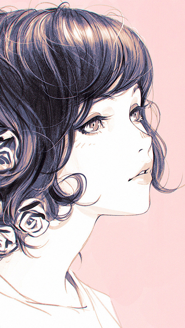 freeios8.com-iphone-4-5-6-plus-ipad-ios8-az01-girl-flower-lady-pink-ilya-kuvshinov-illustration-art