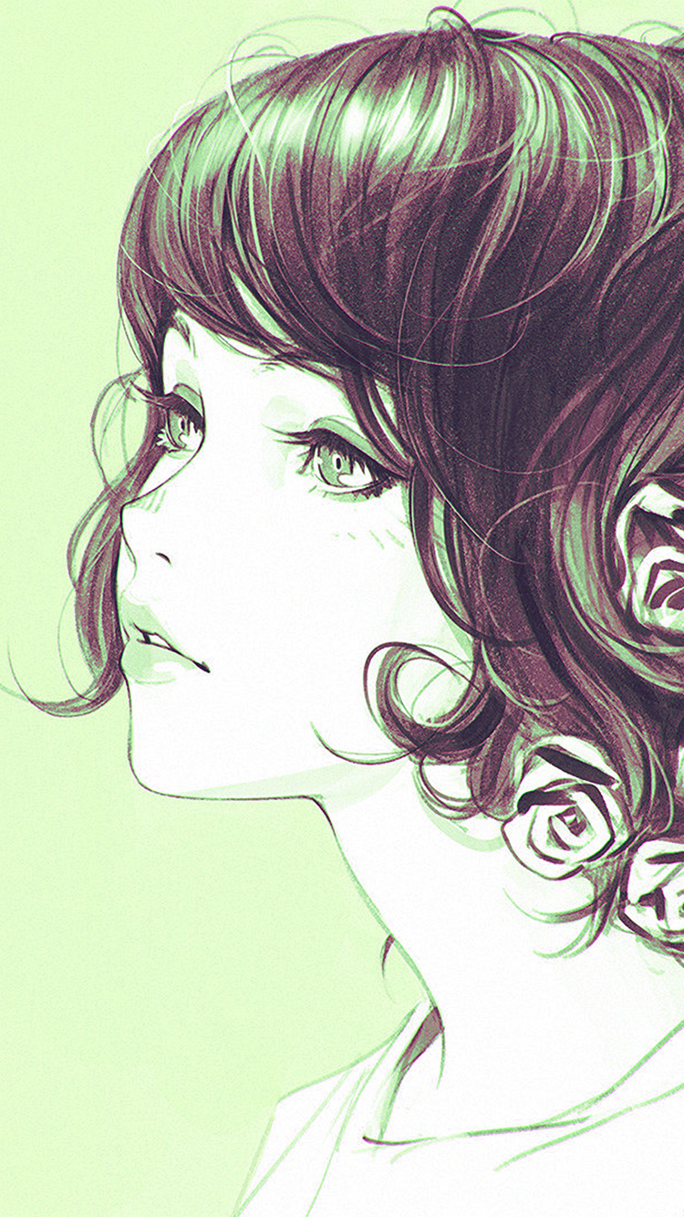 iPhone6papers.co-Apple-iPhone-6-iphone6-plus-wallpaper-az02-girl-flower-lady-green-ilya-kuvshinov-illustration-art