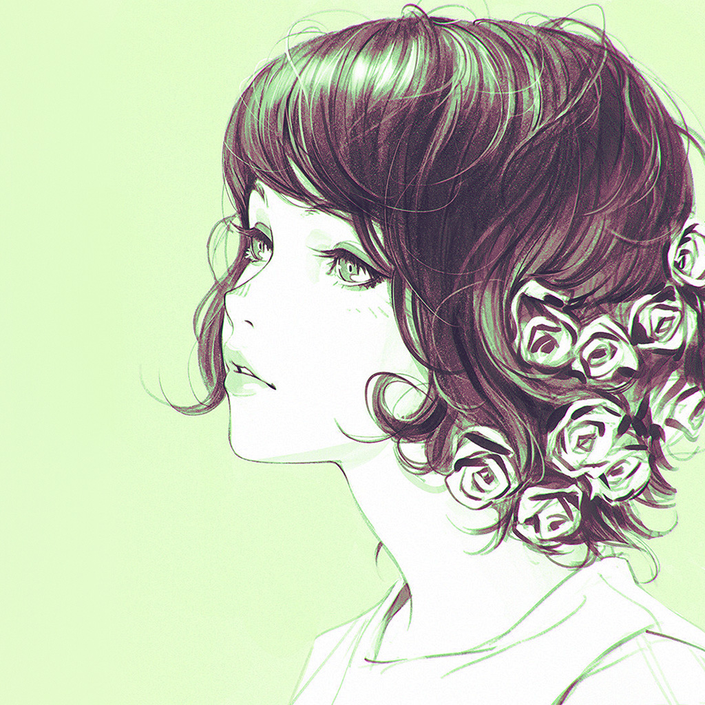 wallpaper-az02-girl-flower-lady-green-ilya-kuvshinov-illustration-art-wallpaper