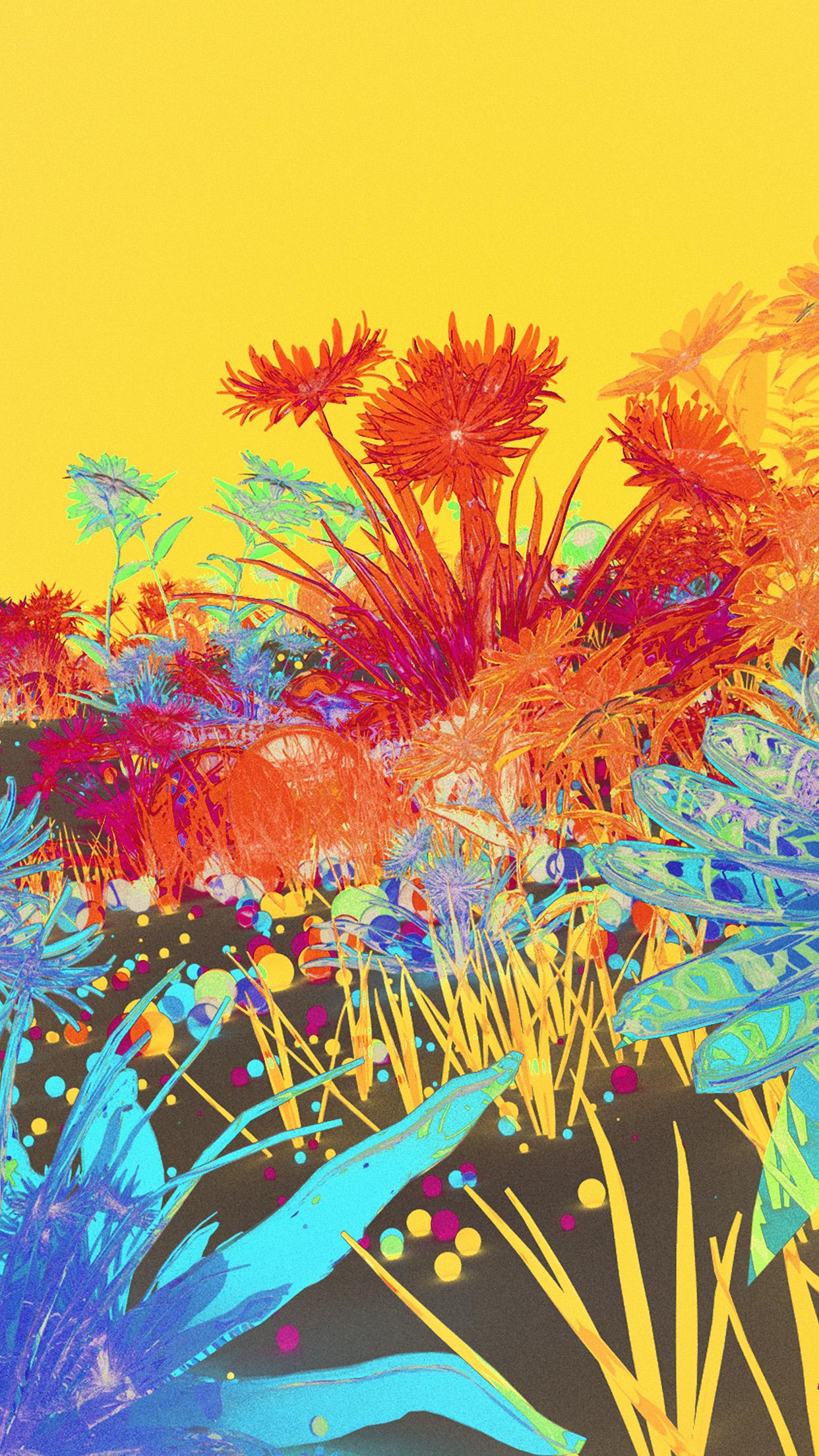 Az09 Flower Art Neon Illustration Art Inverted Wallpaper