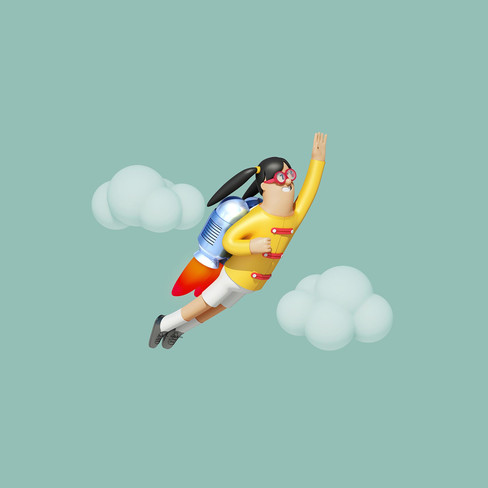 Az24 Girl Fly 3d Illustration Art Wallpaper