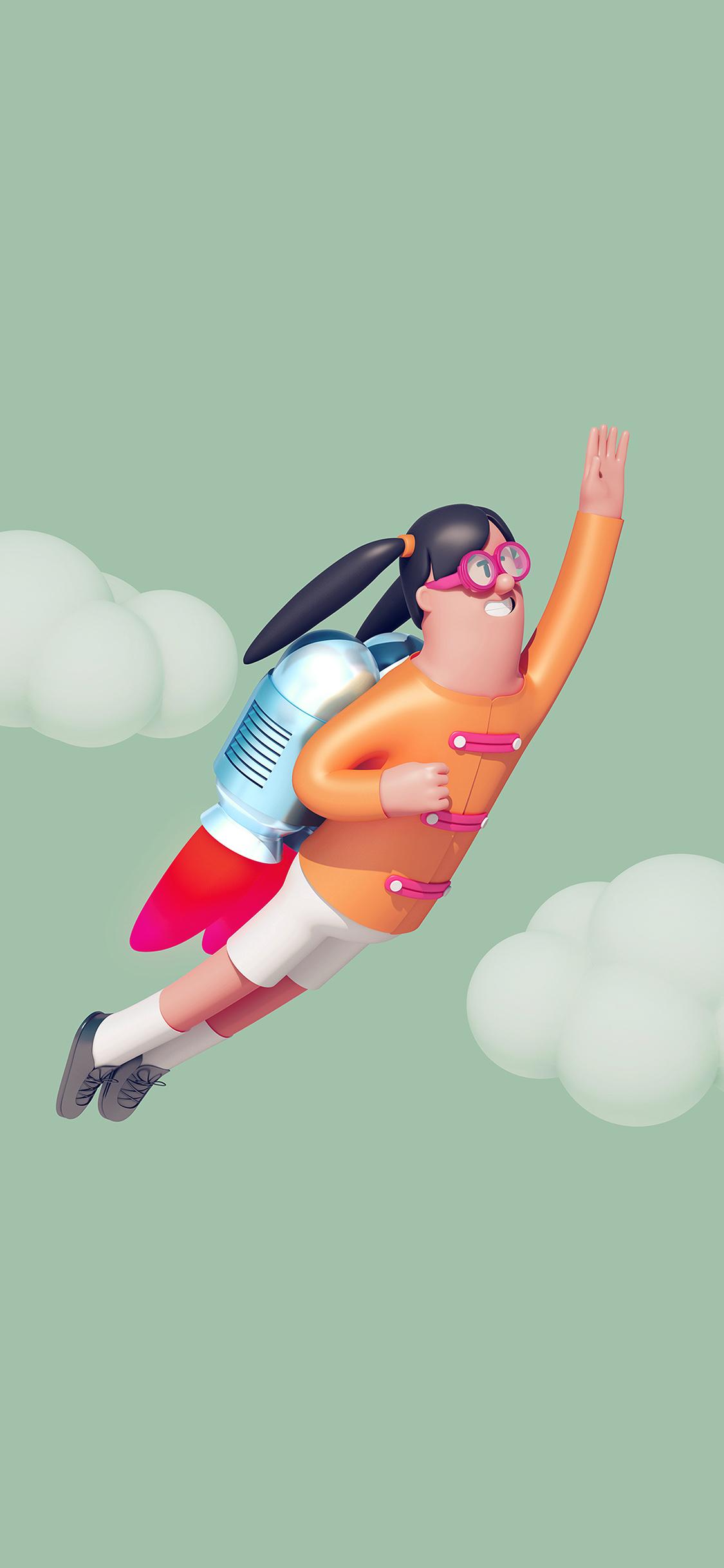 iPhonexpapers.com-Apple-iPhone-wallpaper-az25-girl-fly-3d-illustration-art-cute