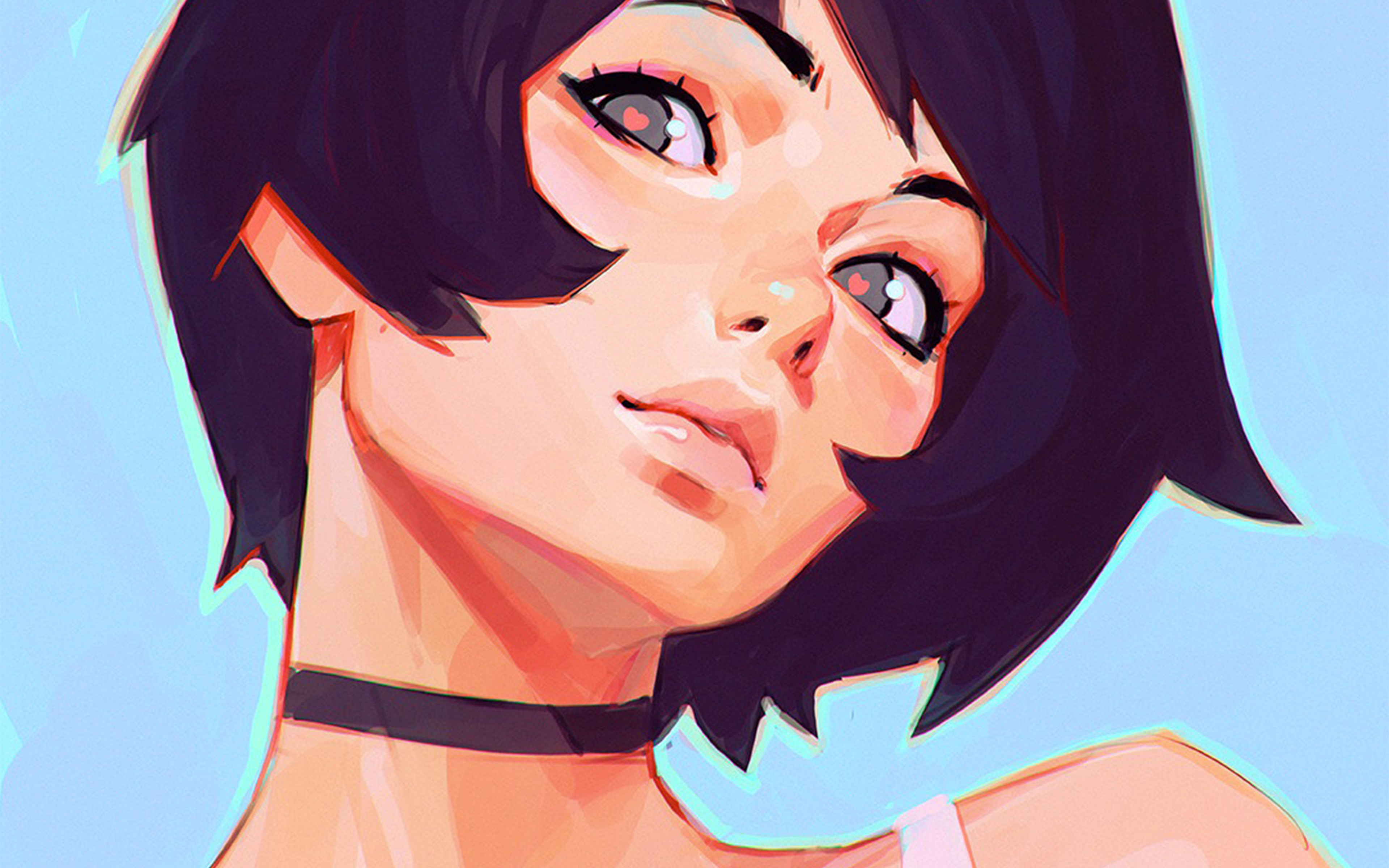 az35-girl-face-ilya-kuvshinov-illustration-art-wallpaper