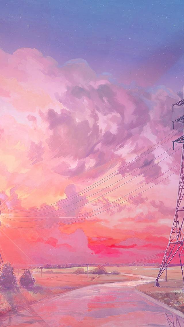 freeios8.com-iphone-4-5-6-plus-ipad-ios8-az42-arseniy-chebynkin-sunset-illustration-art-pink