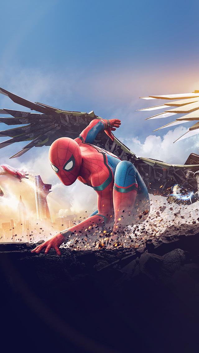 freeios8.com-iphone-4-5-6-plus-ipad-ios8-az57-homecoming-spiderman-hero-marvel-illustration-art-flare