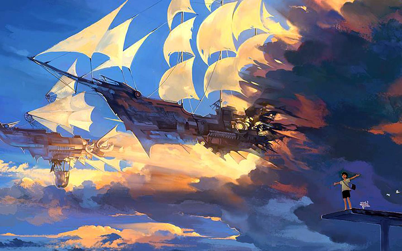 Az67 Fly Ship Anime Illustration Art Wallpaper