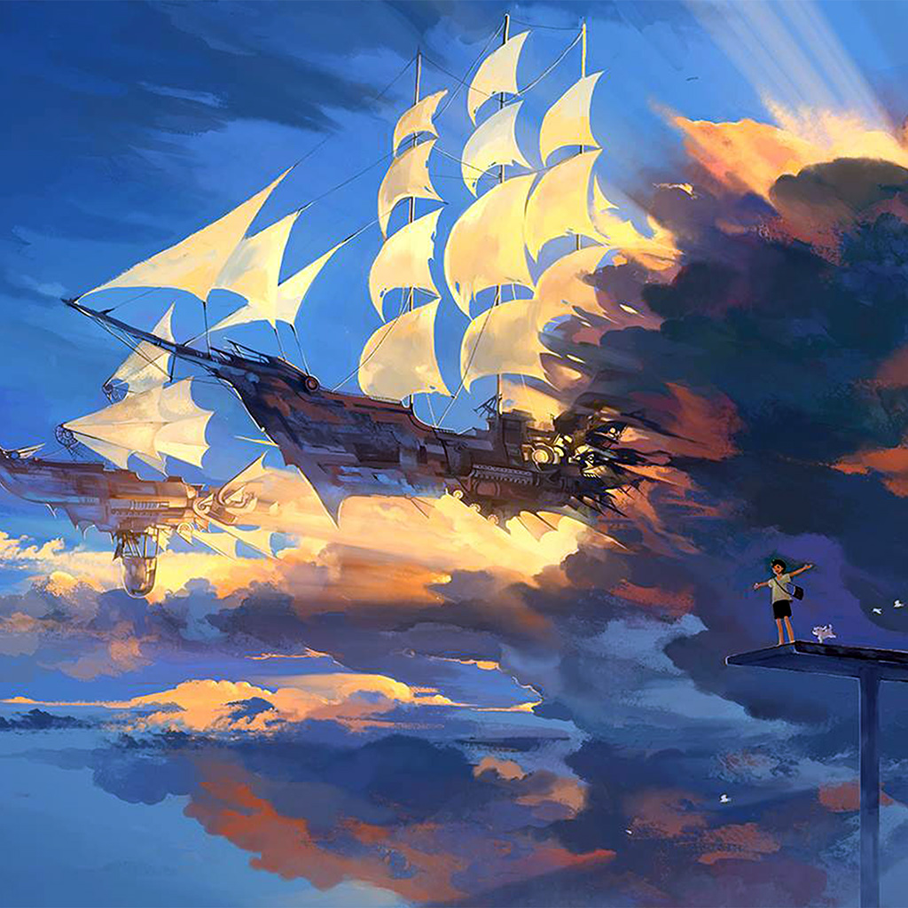 wallpaper-az67-fly-ship-anime-illustration-art-wallpaper