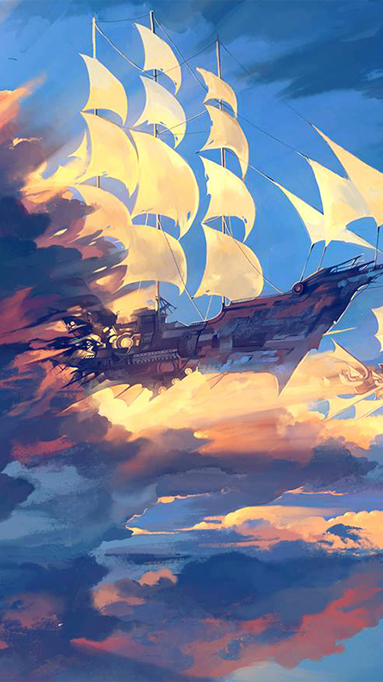 Papers Co Iphone Wallpaper Az68 Fly Ship Anime Illustration Art Blue