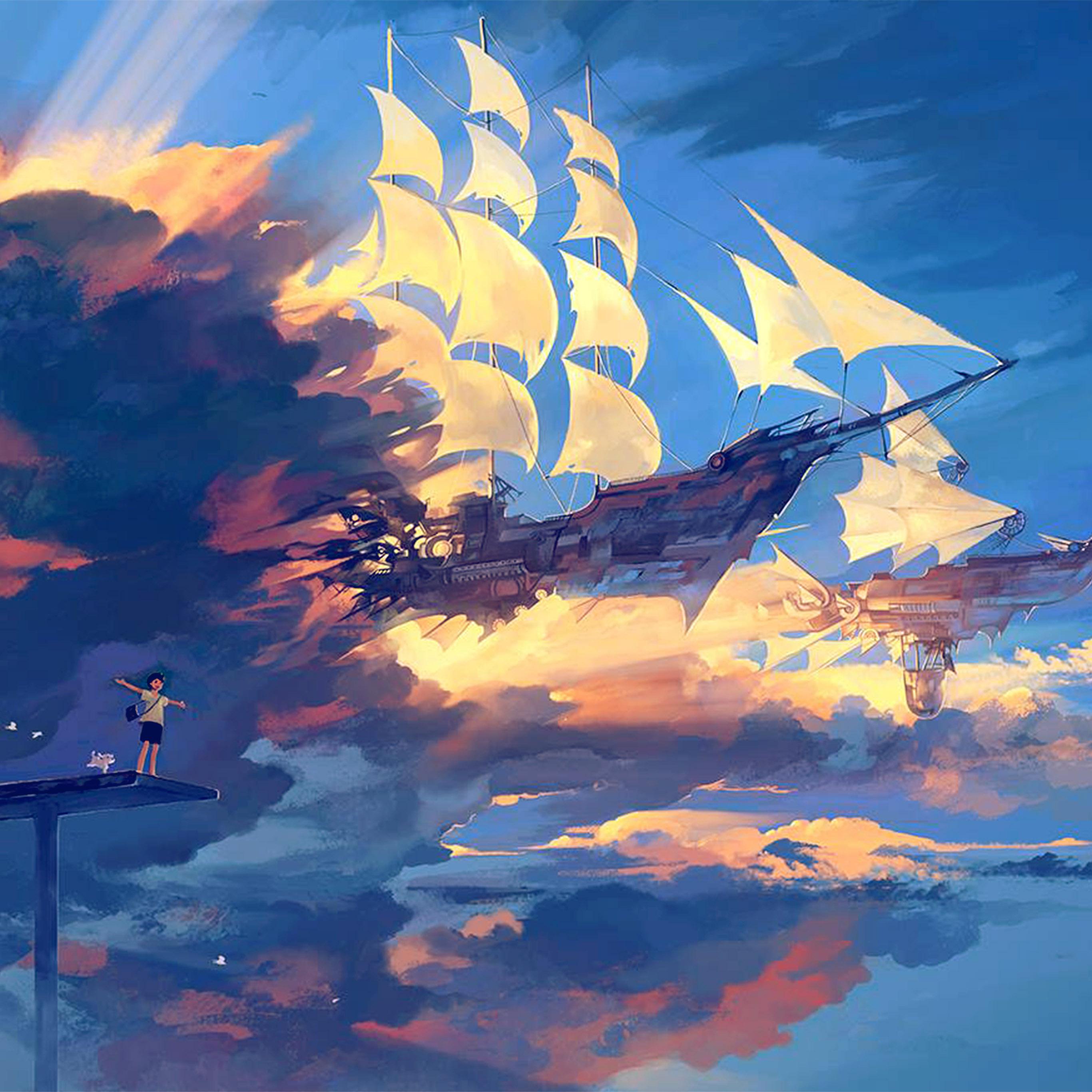 Az68 Fly Ship Anime Illustration Art Blue Wallpaper