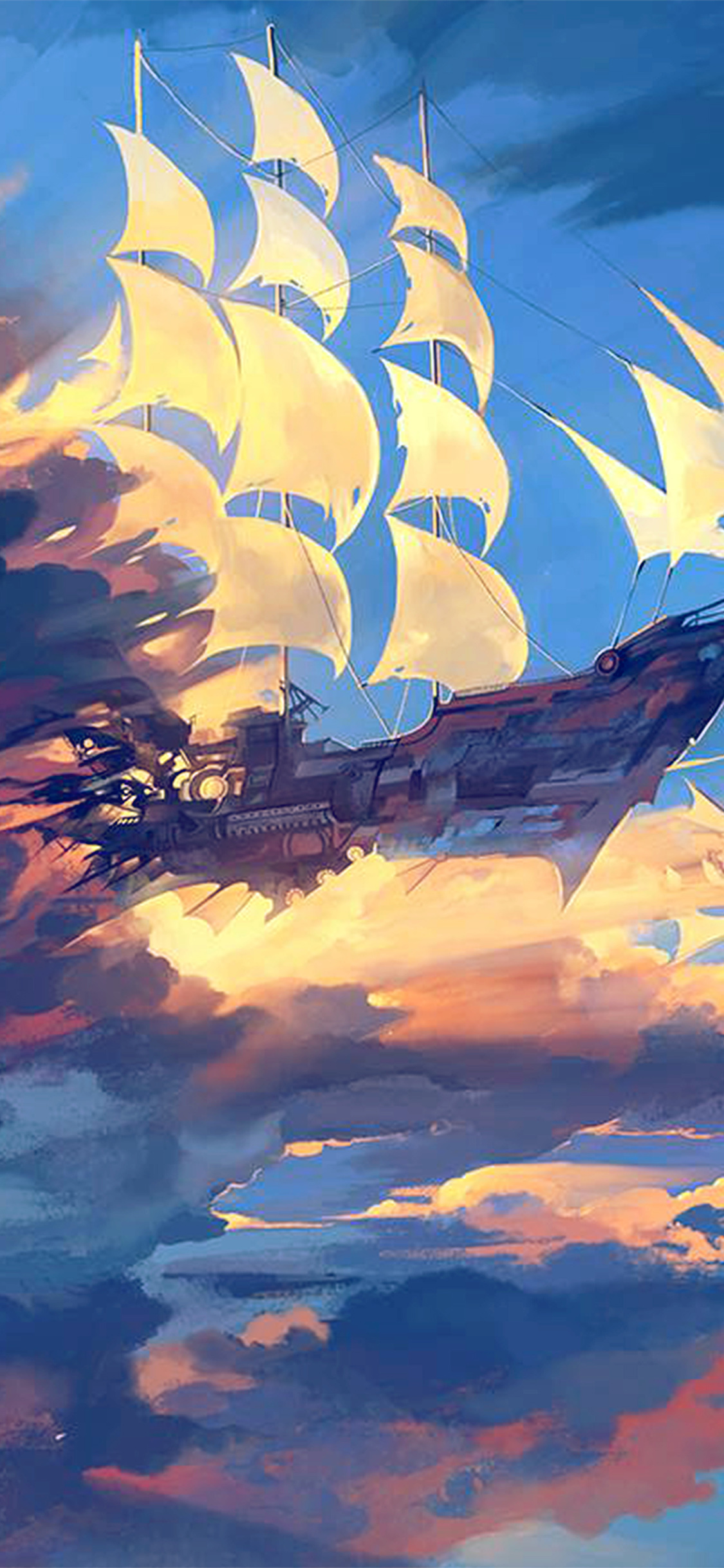 iPhonexpapers.com-Apple-iPhone-wallpaper-az68-fly-ship-anime-illustration-art-blue