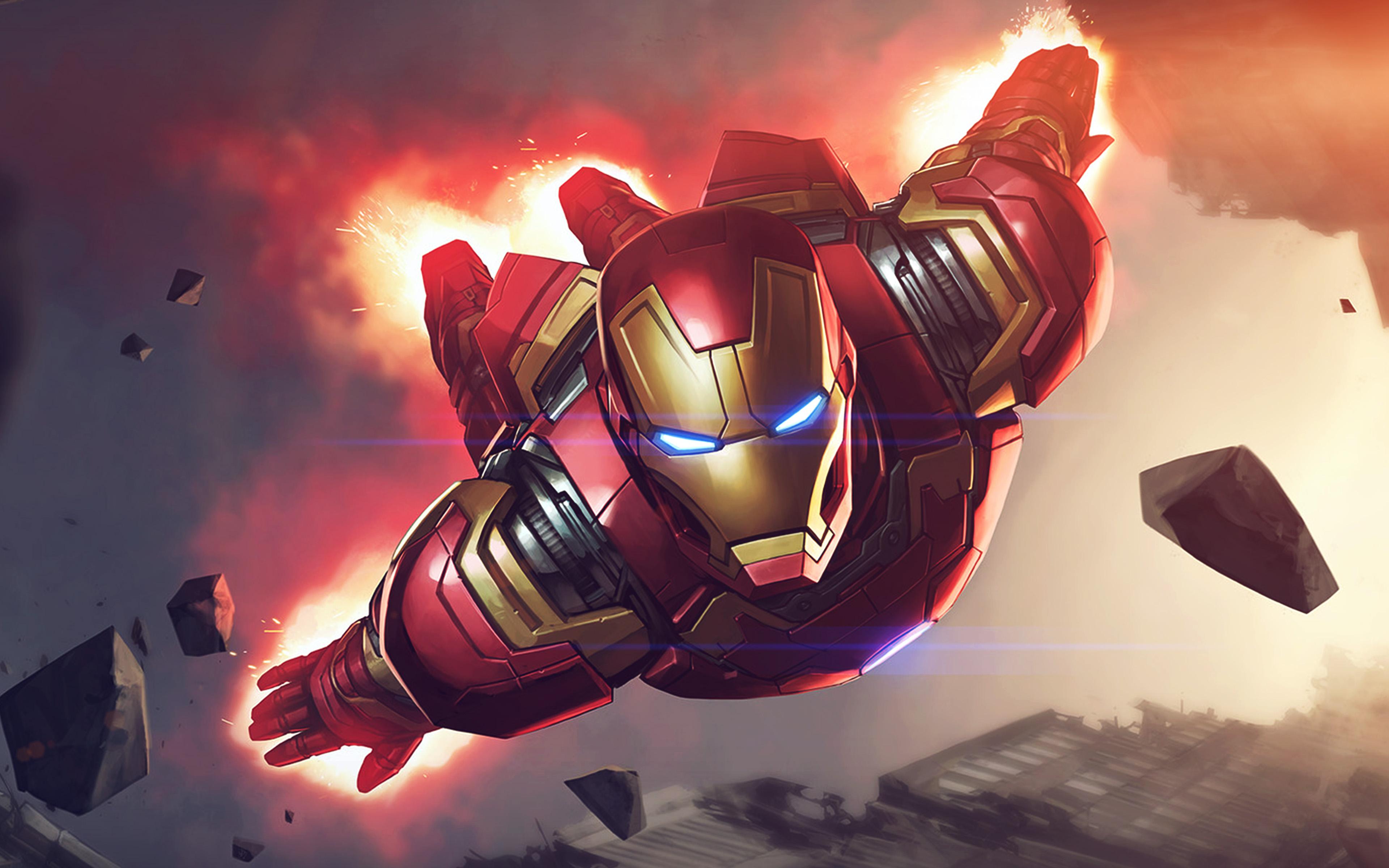 Papers Co Az Ironman Hero Marvel Illustration Art Blue Flare X K Wallpaper