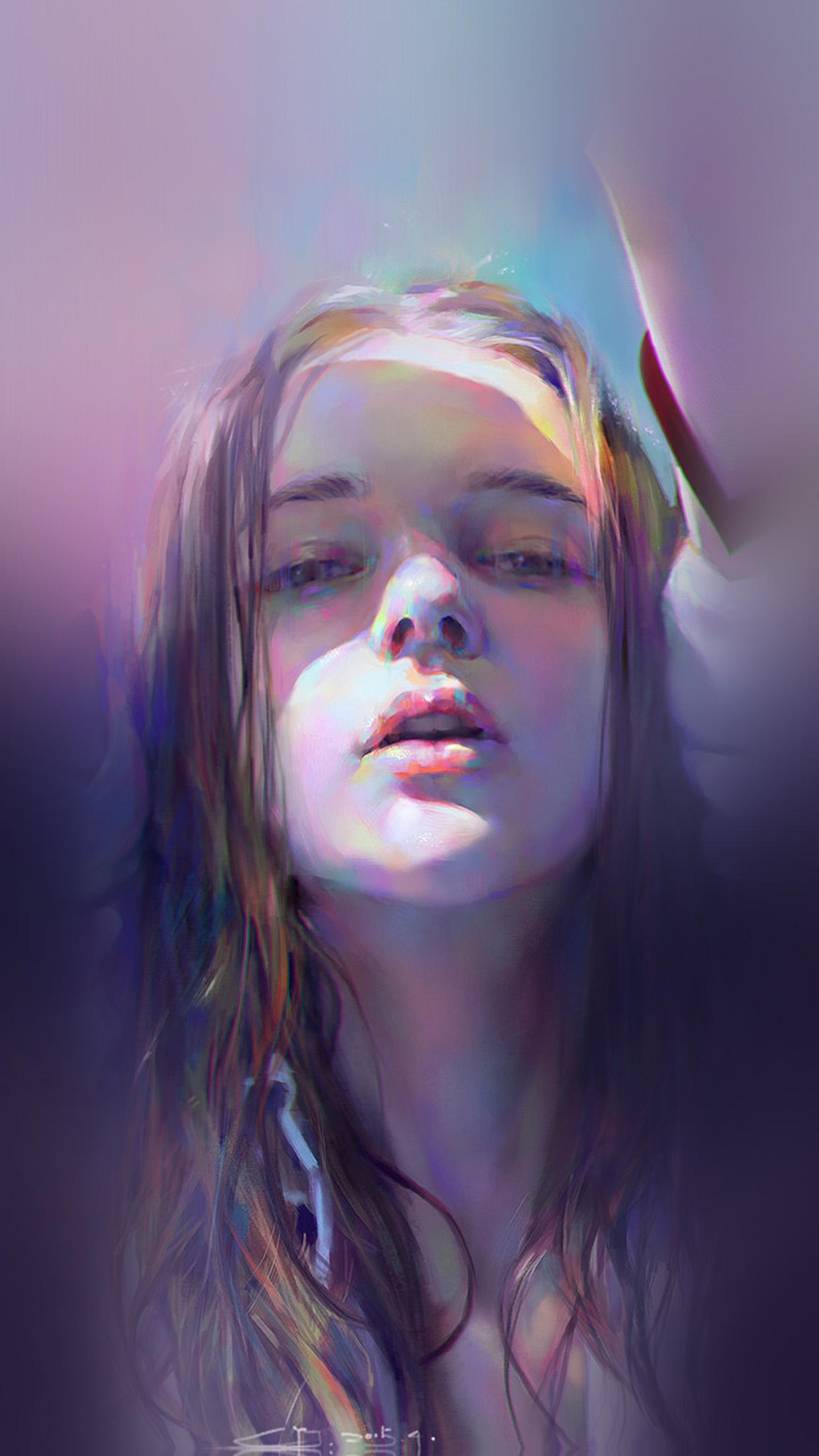 Iphone6papers Com Iphone 6 Wallpaper Ba07 Girl Anime Purple Illustration Art
