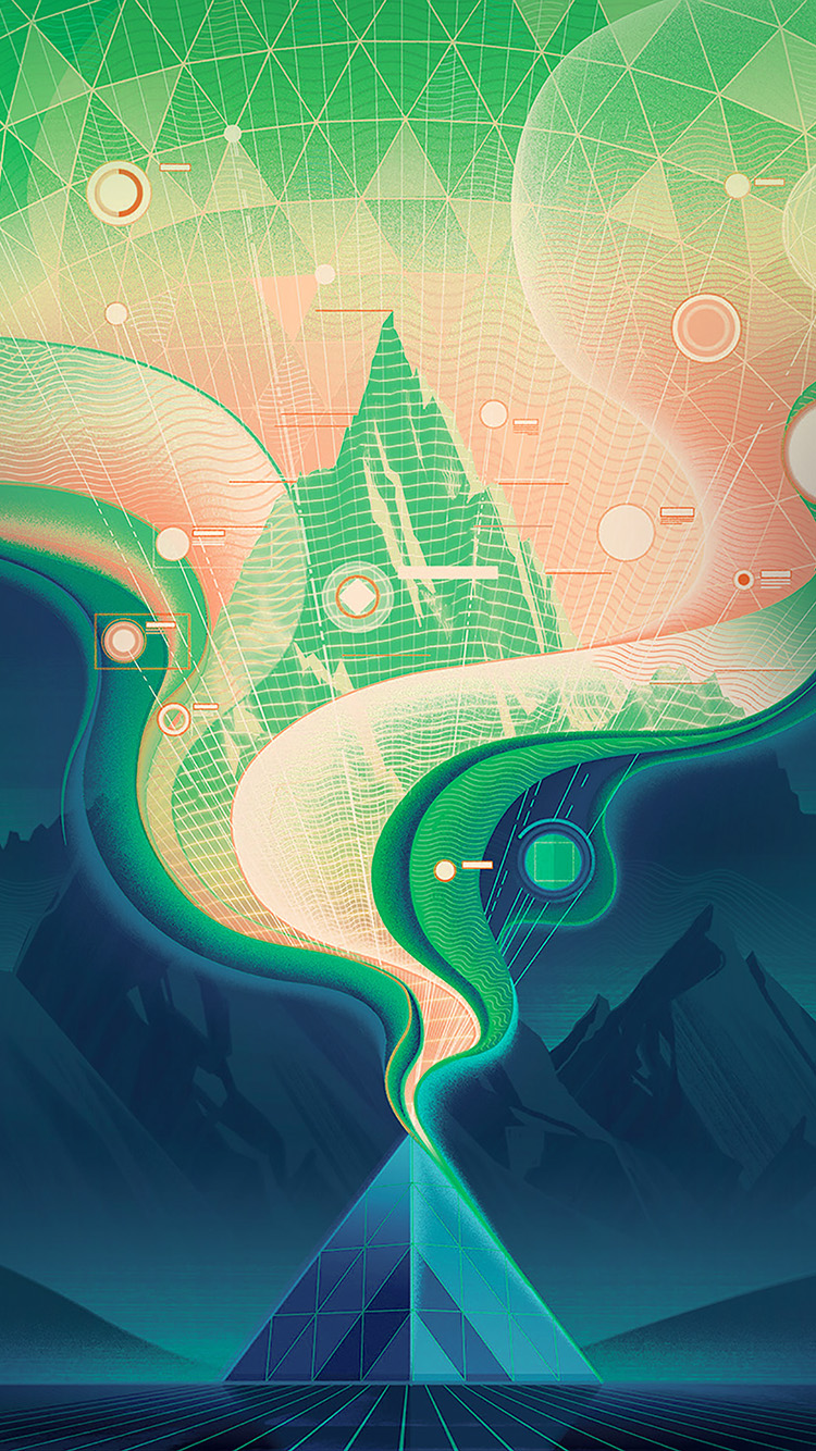 iPhonepapers.com-Apple-iPhone-wallpaper-ba17-digital-abstract-road-blue-illustration-art-green
