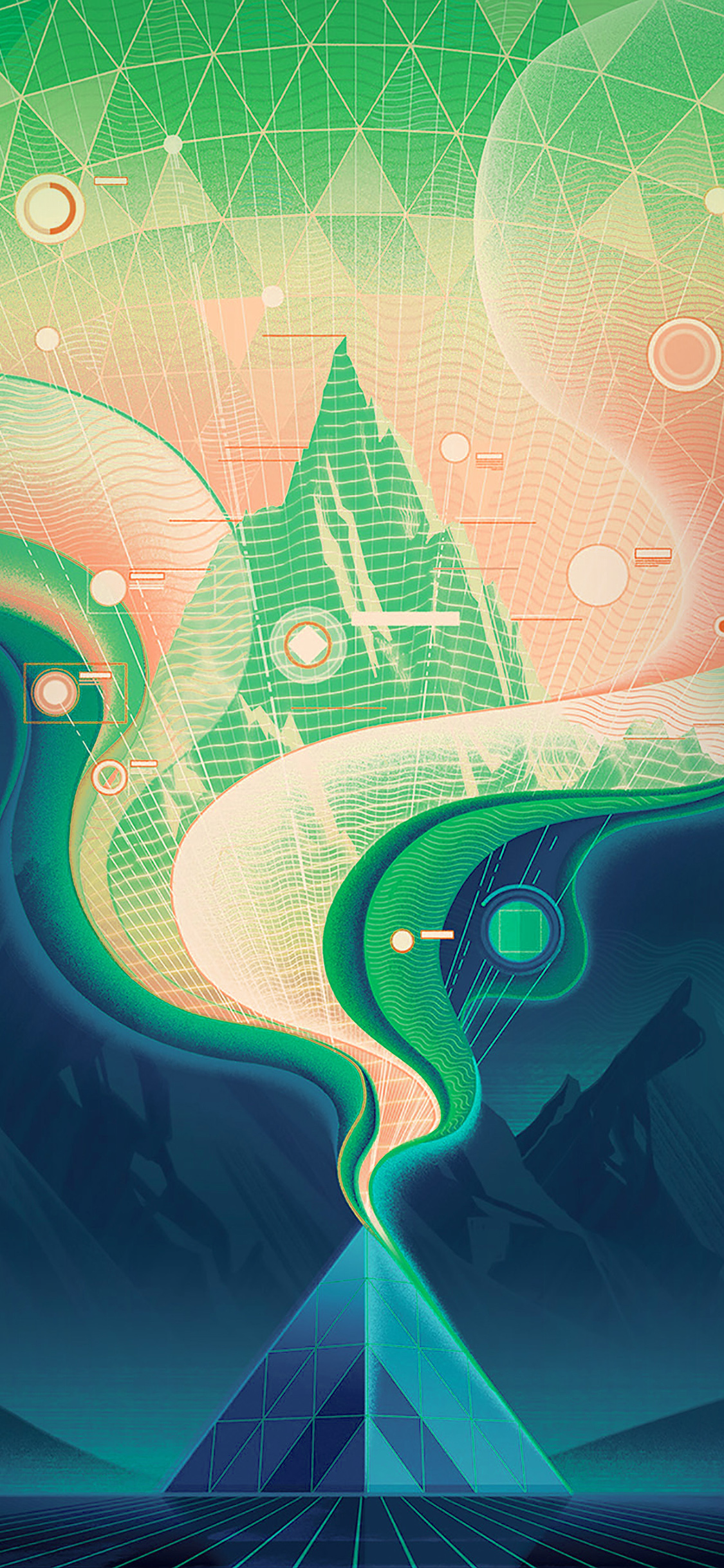 iPhonexpapers.com-Apple-iPhone-wallpaper-ba17-digital-abstract-road-blue-illustration-art-green