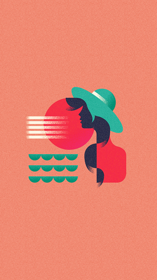 freeios8.com-iphone-4-5-6-plus-ipad-ios8-ba19-girl-patten-orange-minimal-illustration-art-pink