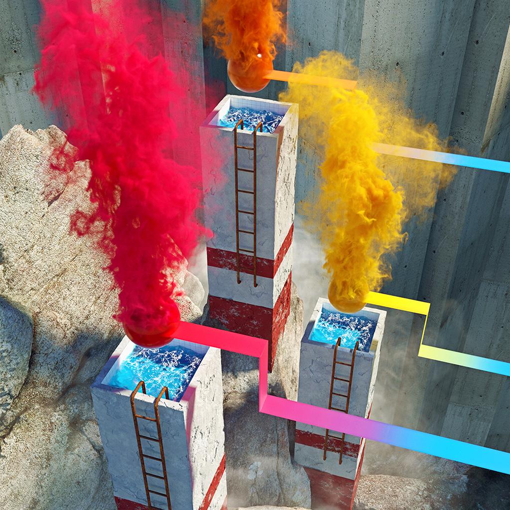 wallpaper-ba43-smoke-building-rainbow-illustration-art-wallpaper