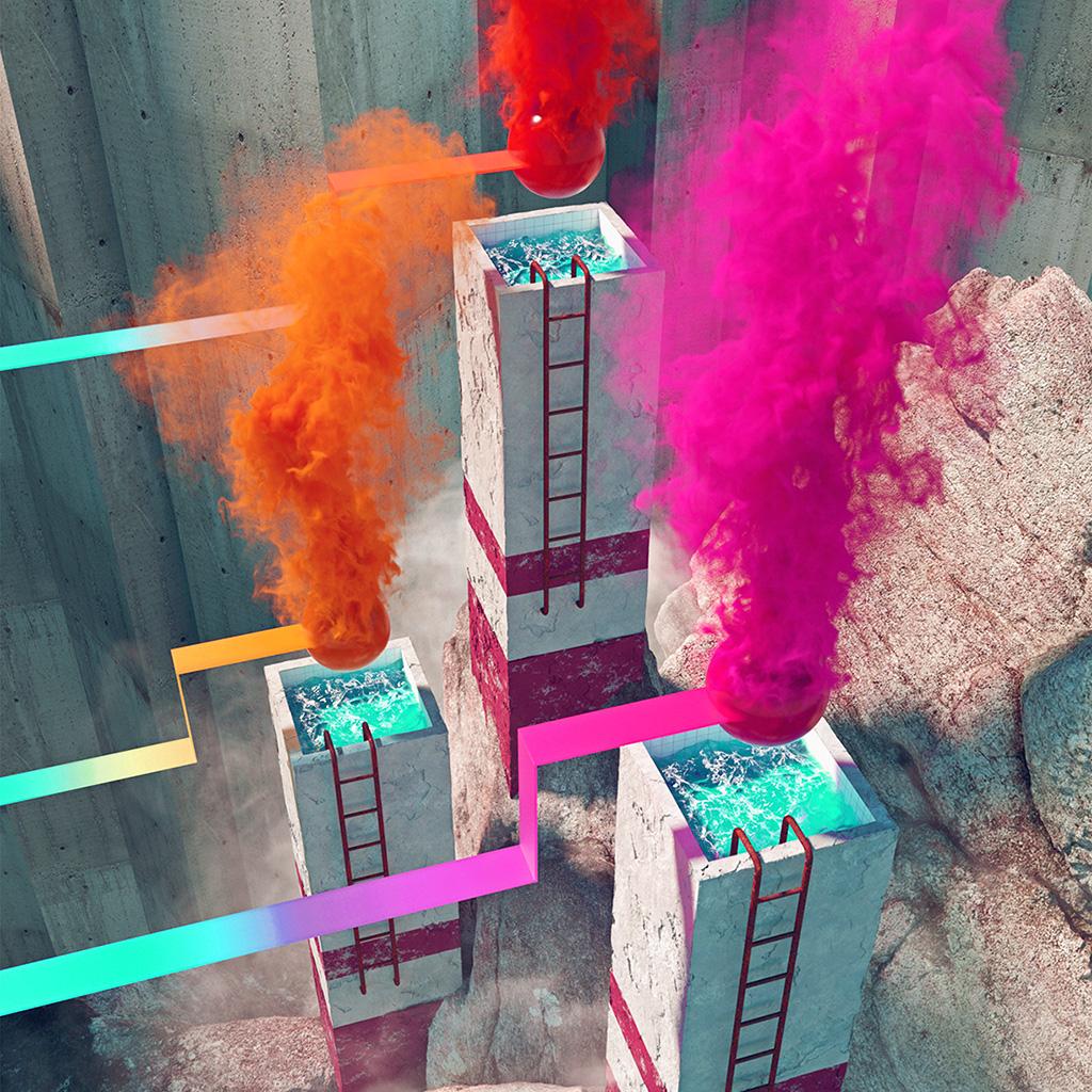 wallpaper-ba44-smoke-building-rainbow-illustration-art-red-wallpaper