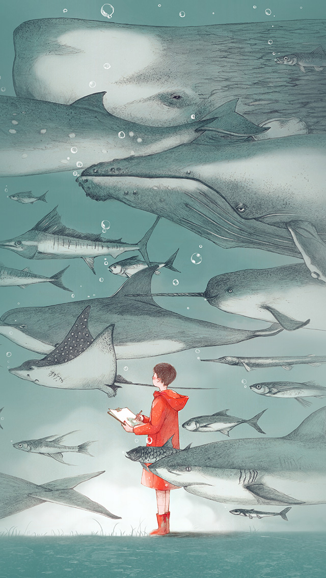 freeios8.com-iphone-4-5-6-plus-ipad-ios8-ba54-water-fish-pastel-animal-illustration-art-green