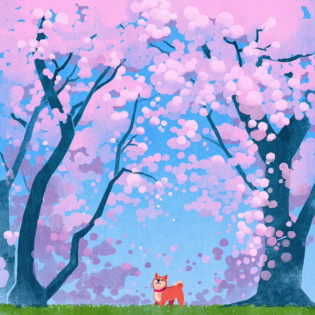 android-wallpaper-ba58-cute-siba-dog-animal-spring-illustration-art-wallpaper