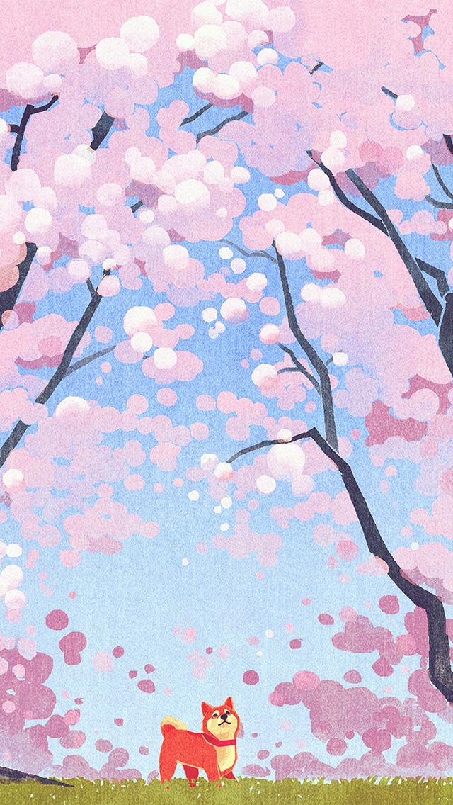 freeios8.com-iphone-4-5-6-plus-ipad-ios8-ba59-cute-siba-dog-animal-spring-illustration-art-pink