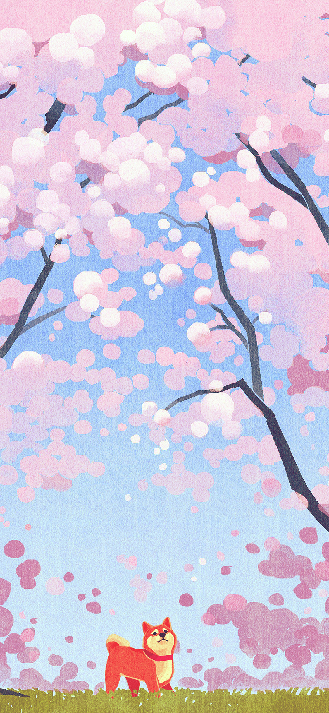 iPhonexpapers.com-Apple-iPhone-wallpaper-ba59-cute-siba-dog-animal-spring-illustration-art-pink