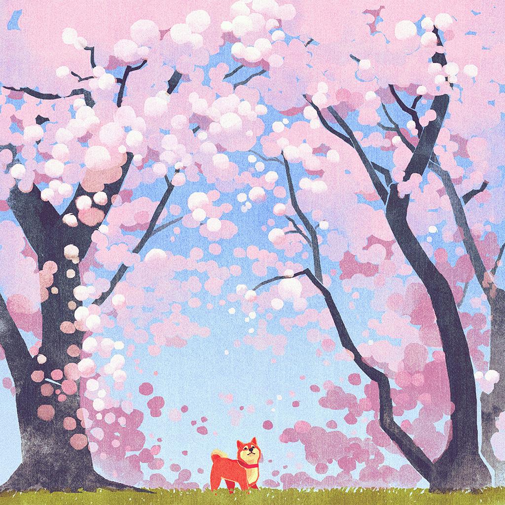 android-wallpaper-ba59-cute-siba-dog-animal-spring-illustration-art-pink-wallpaper