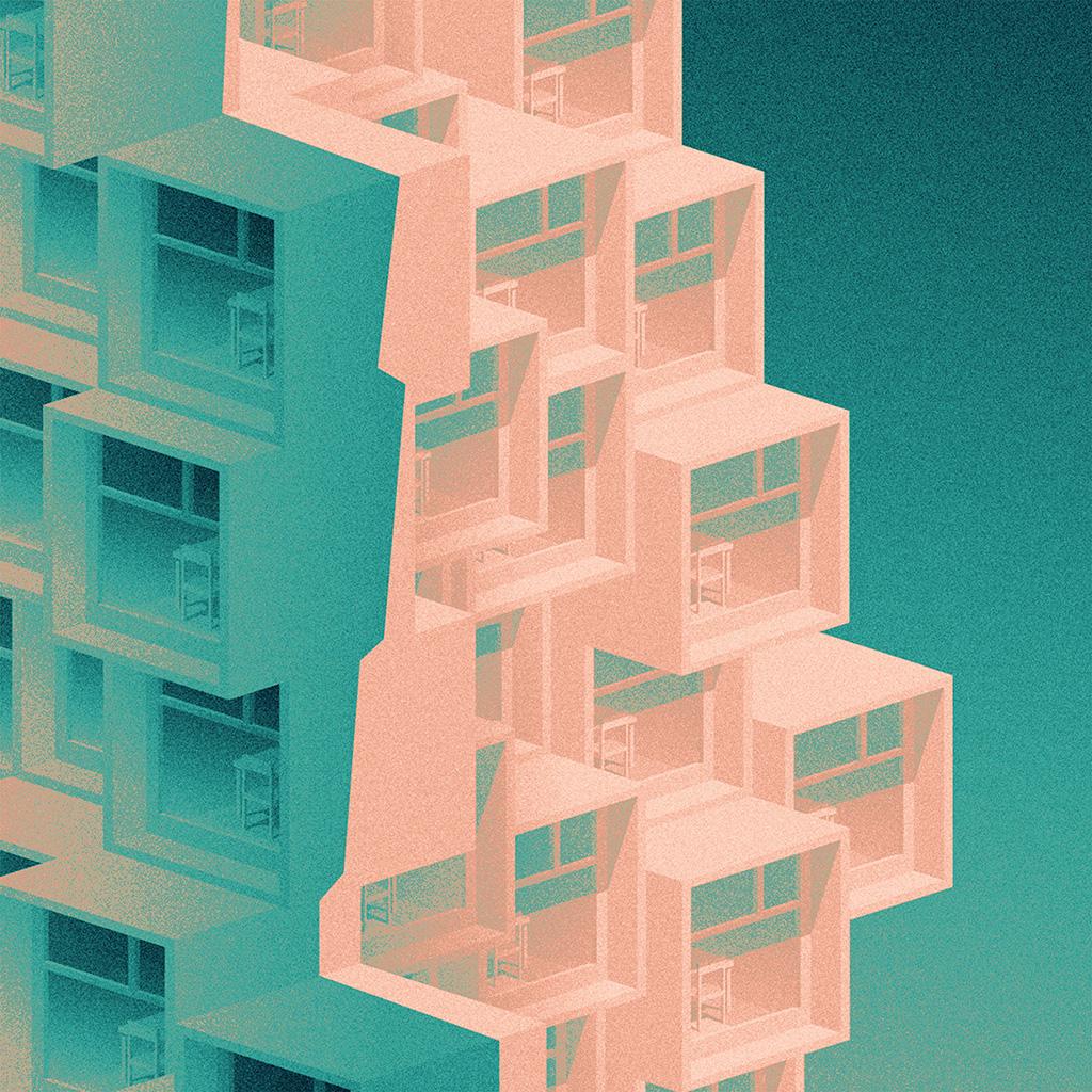 wallpaper-ba61-pattern-building-blue-illustration-art-green-wallpaper