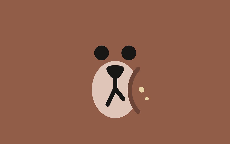 Ba78 Line Chractor Cute Brown Illustration Art