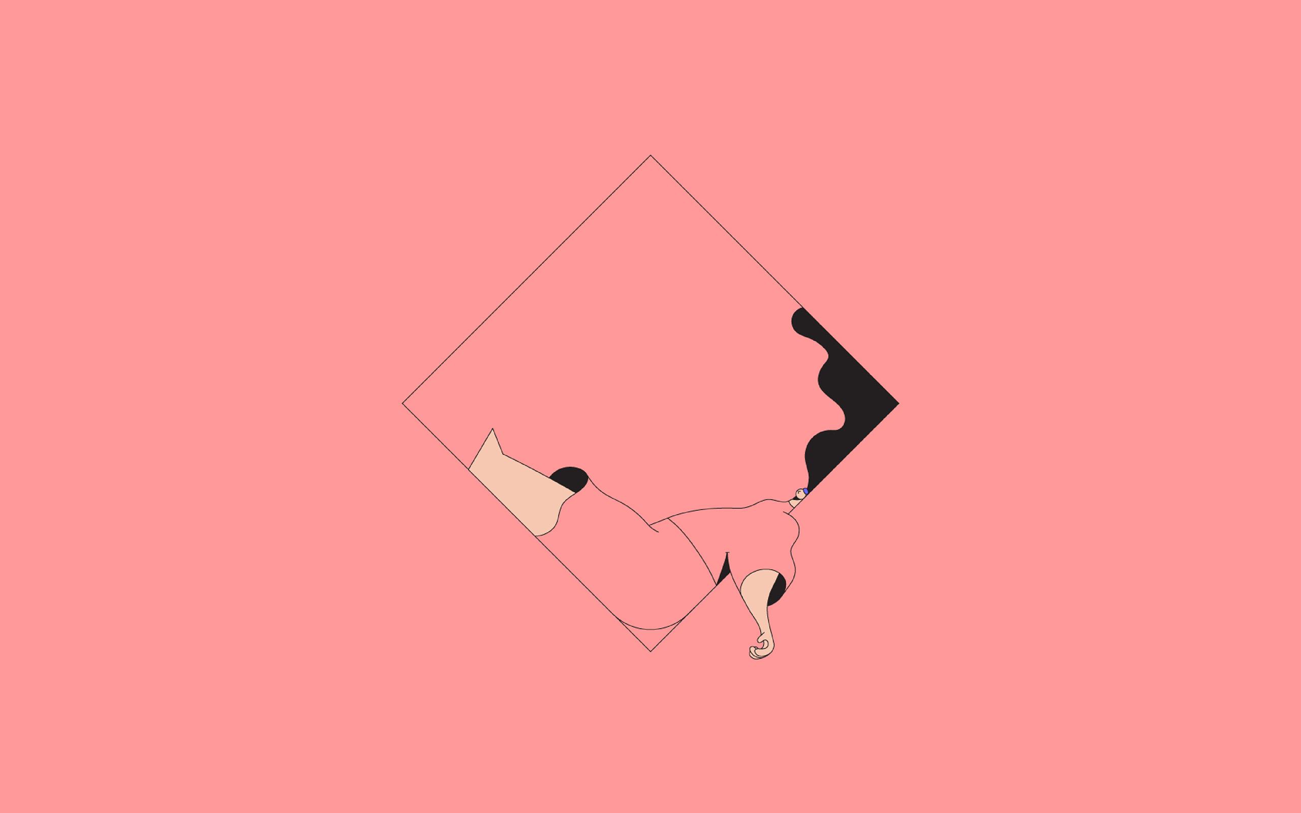Bb08 minimal drawing pink illustration art wallpaper for Minimal art vector