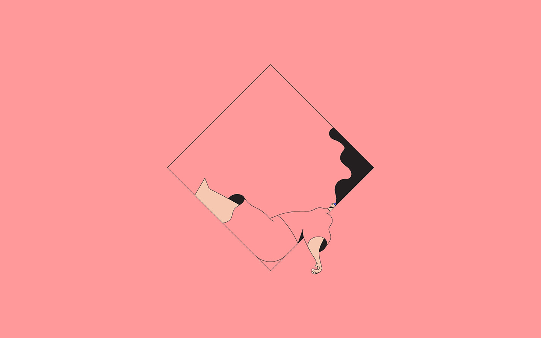 Bb08 Minimal Drawing Pink Illustration Art Wallpaper
