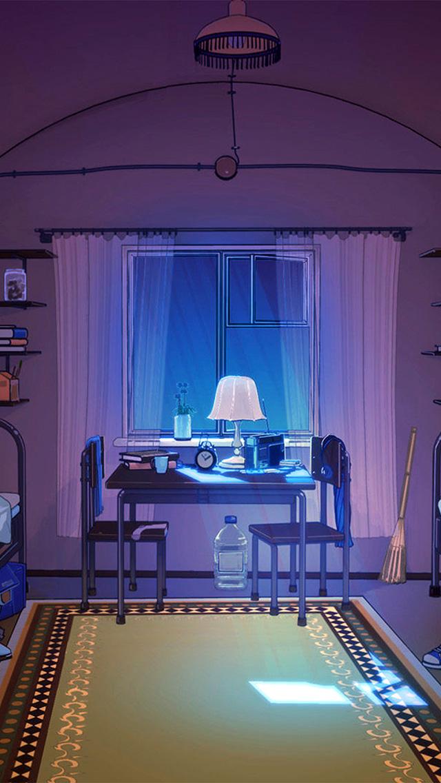 freeios8.com-iphone-4-5-6-plus-ipad-ios8-bc39-arsenic-painting-purple-room-art-illustration