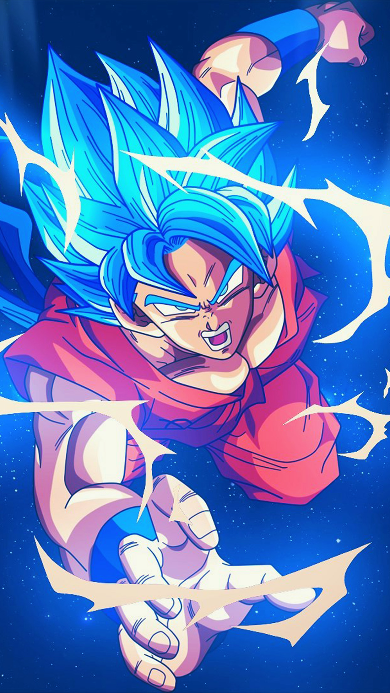 Papers Co Iphone Wallpaper Bc55 Dragonball Goku Blue Art