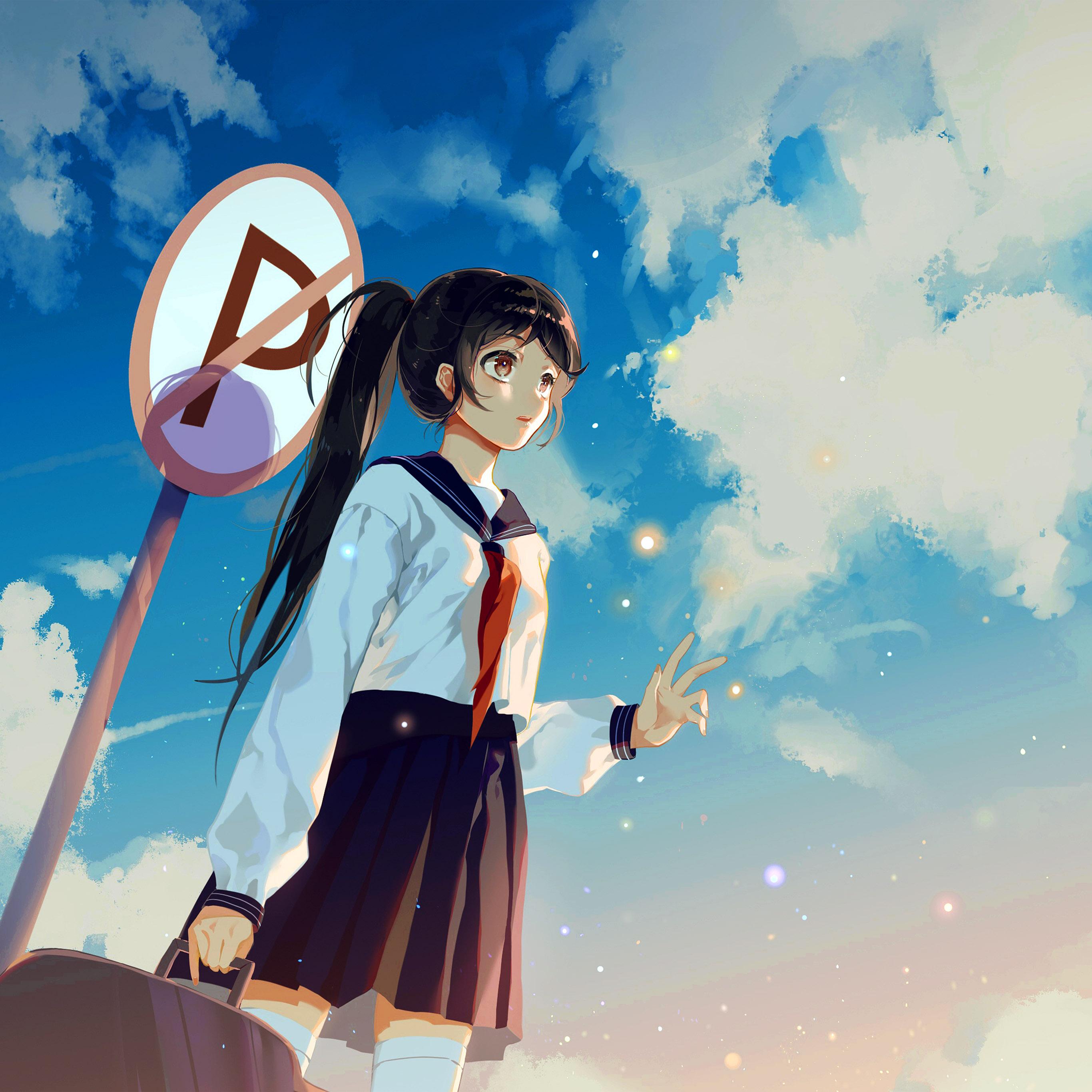 Bc67 Girl School Girl Anime Sky Cloud Star Art Illustration Wallpaper