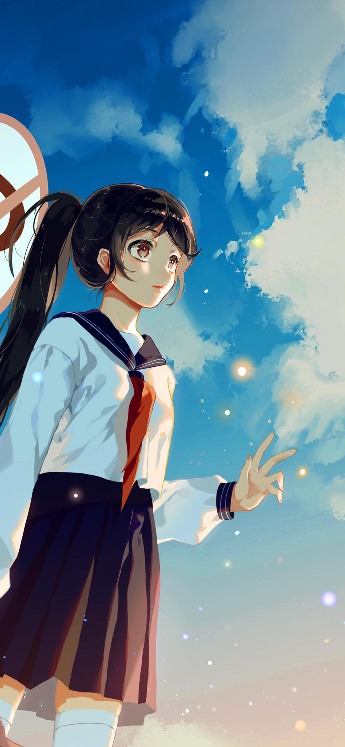 iPhonexpapers.com-Apple-iPhone-wallpaper-bc67-girl-school-girl-anime-sky-cloud-star-art-illustration
