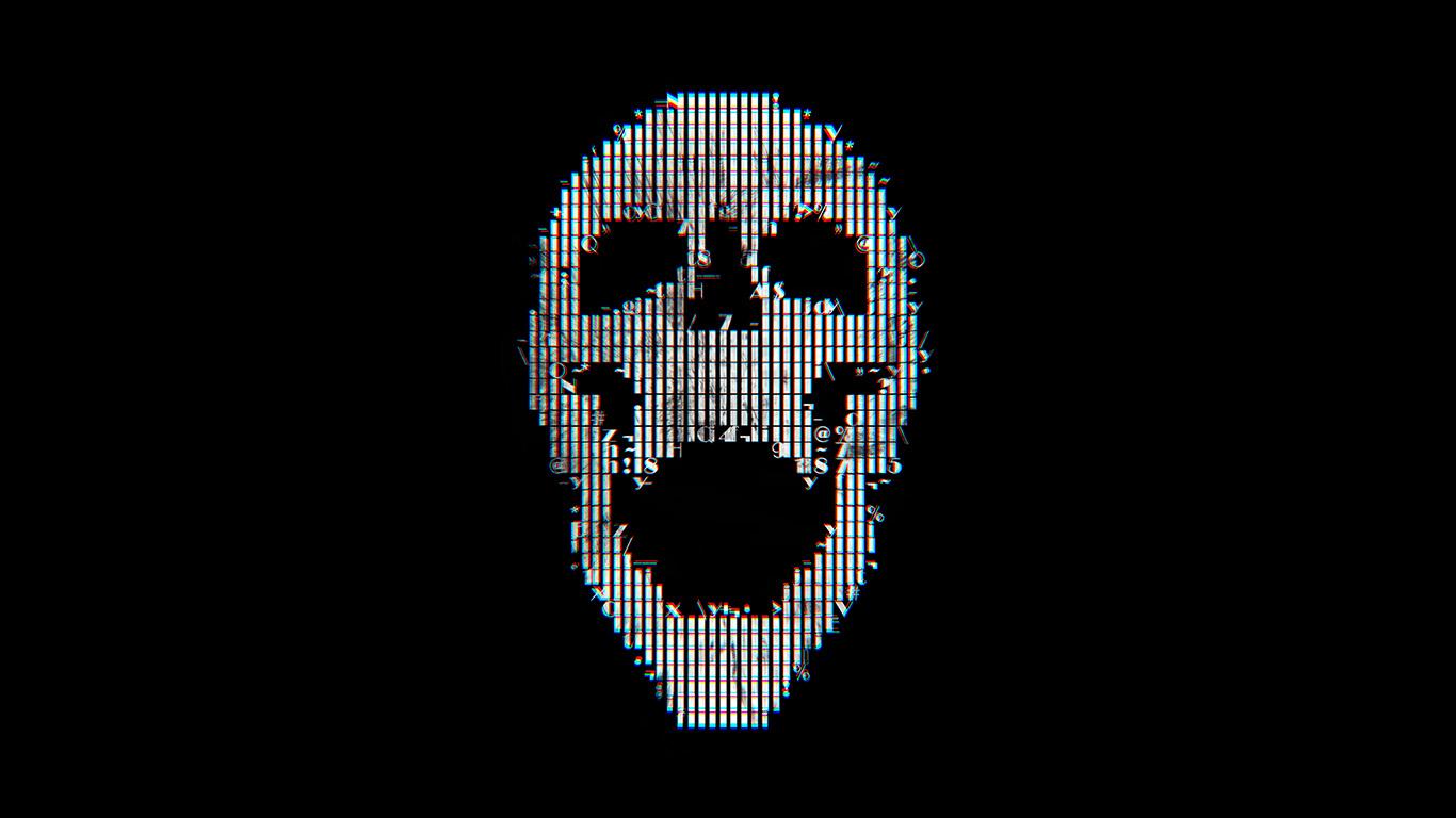 Digital Art Skull Simple Background Abstract Portrait: Bc71-digital-skull-dark-black-art-illustration-simple
